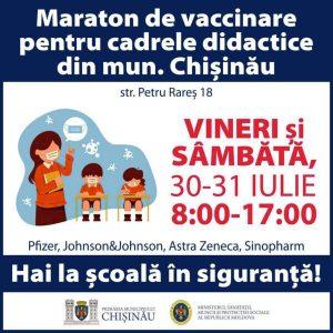 Maraton de vaccinare pentru cadrele didactice din municipiul Chișinău